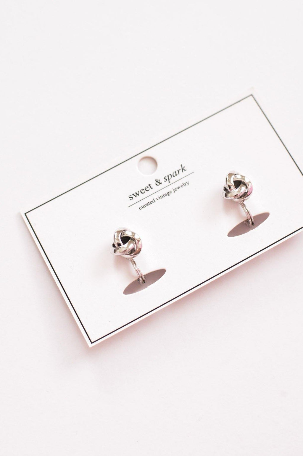 Silver Love Knot Clip-on Earrings