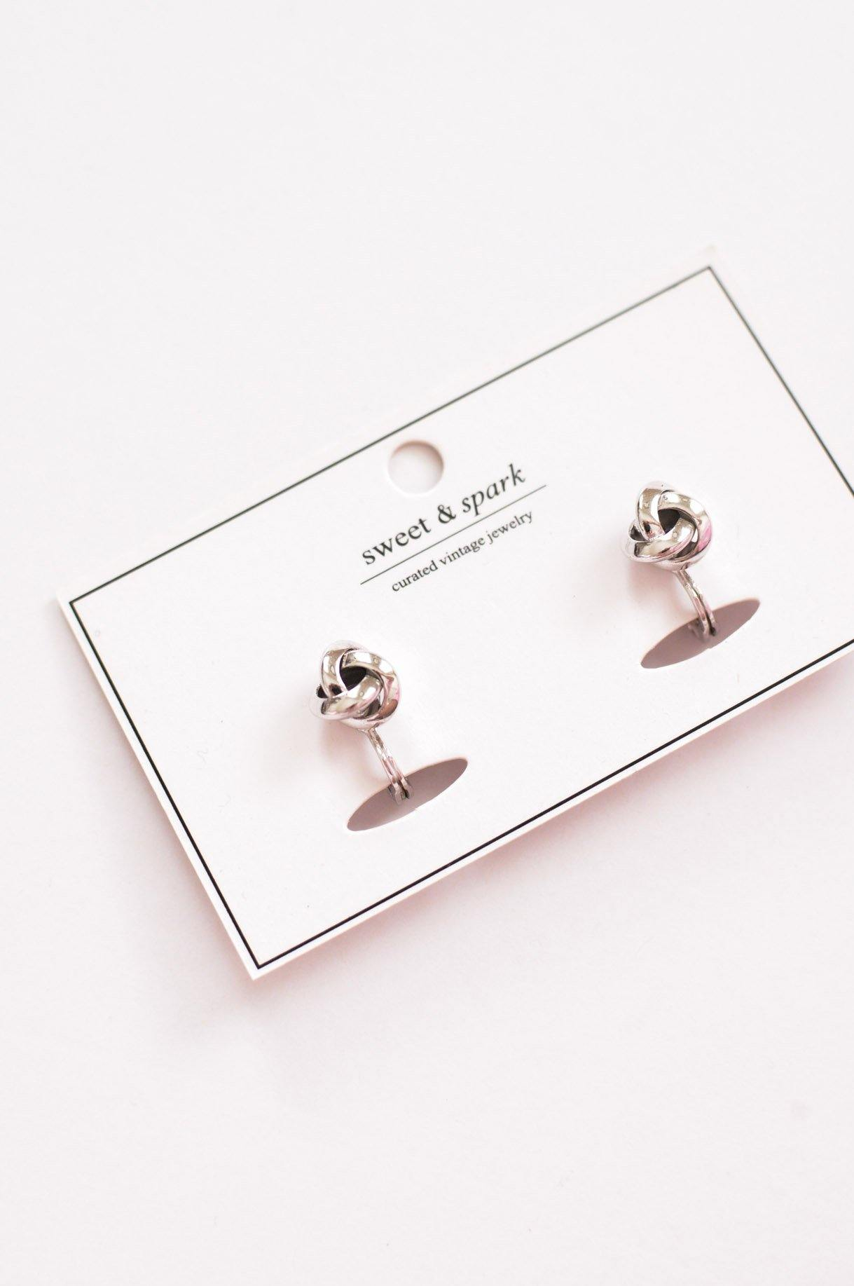 Silver Love Knot Clip-on Earrings - Sweet & Spark