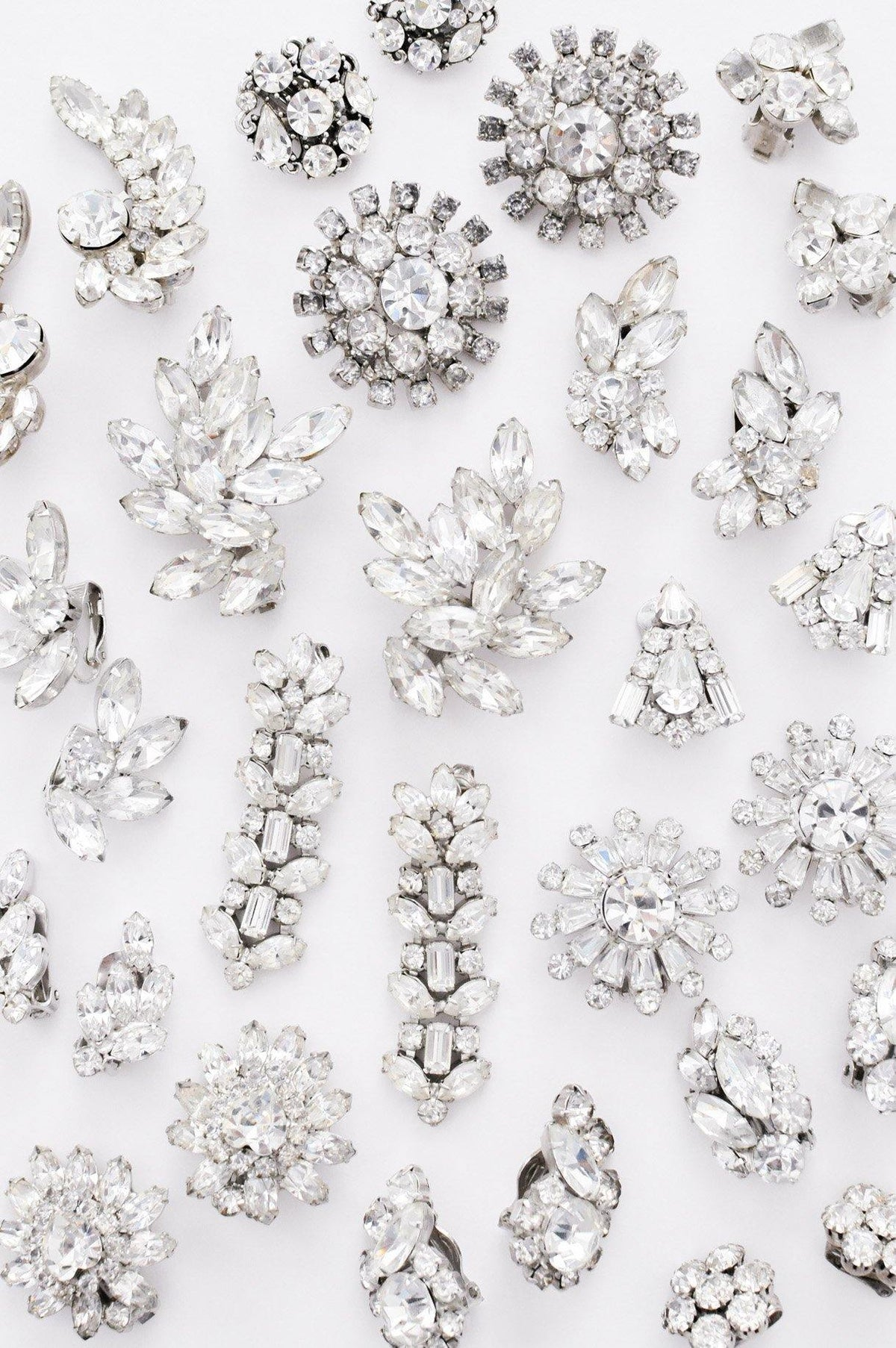 Vintage rhinestone bridal earrings from Sweet & Spark wedding collection.