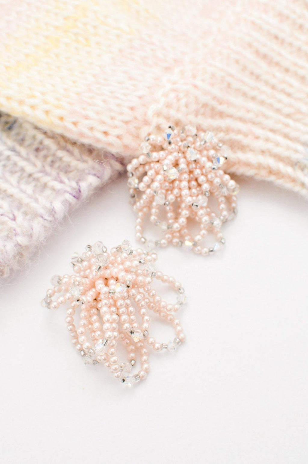 Pink Pearl Beaded Clip-on Earrings