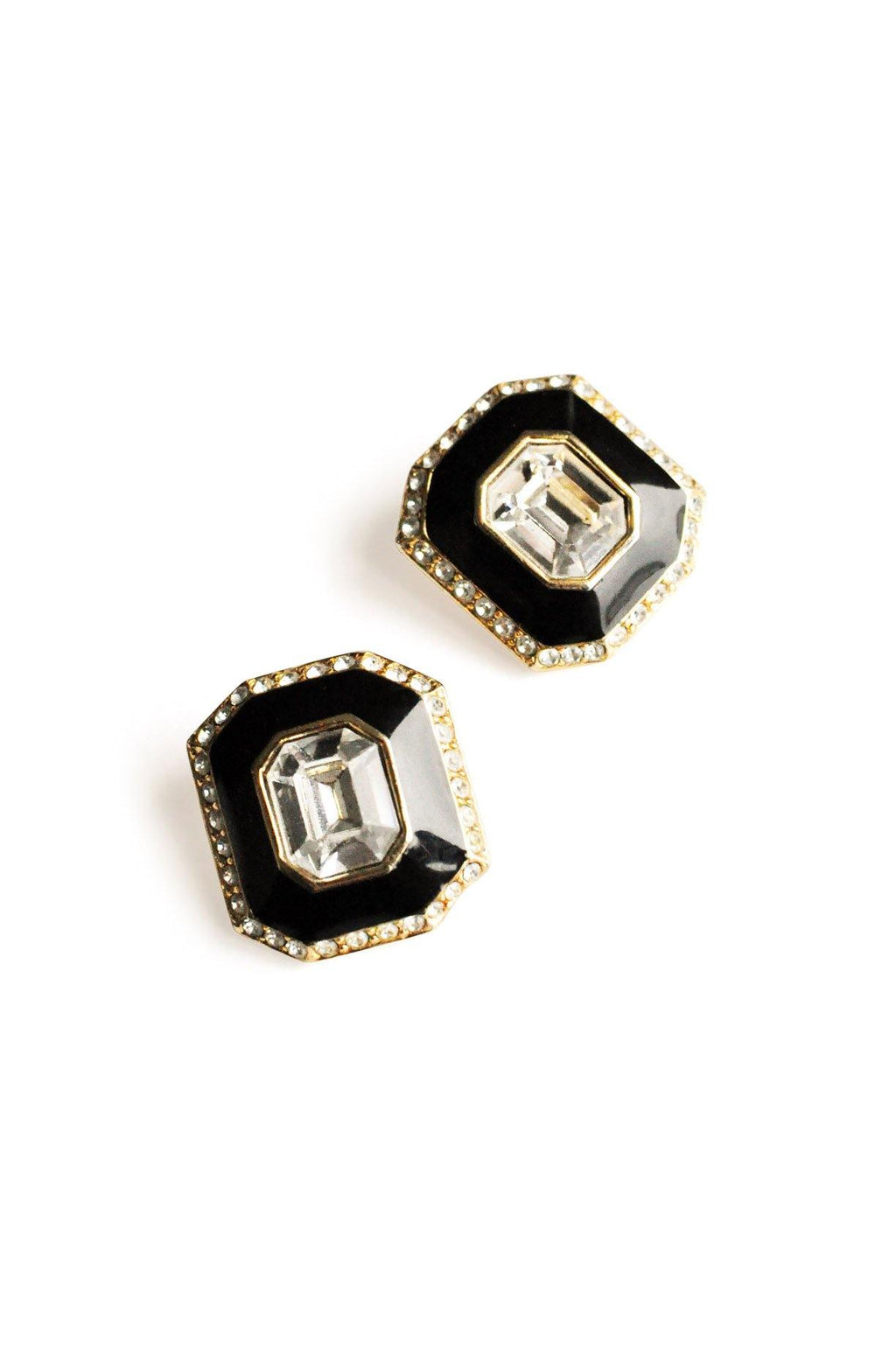 Rhinestone Black Enamel Clip-On Earrings