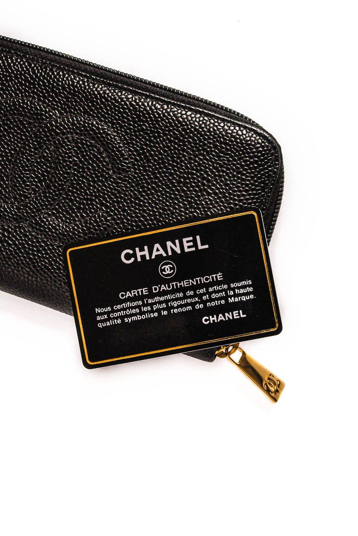Vintage Chanel CC Black Caviar Leather Wallet from Sweet and SPark