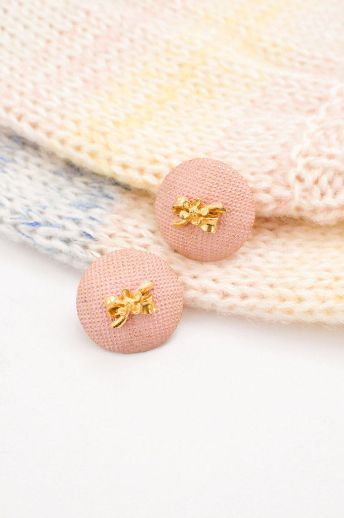 Pink Bow Button Clip-on Earrings