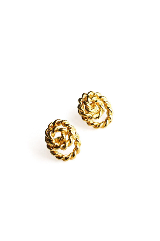 Gold Rope Knot Pierced Earrings
