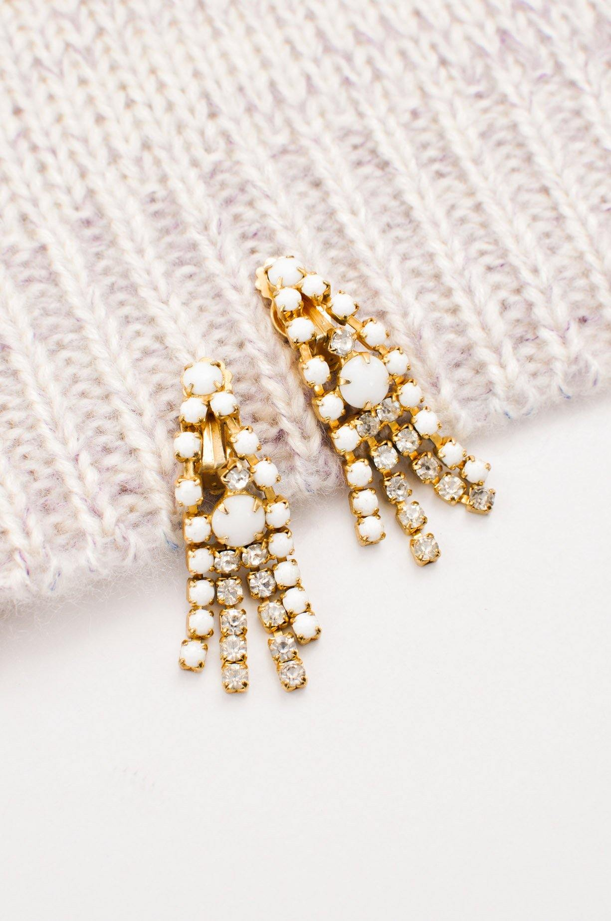 White Rhinestone Fringe Clip-on Earrings