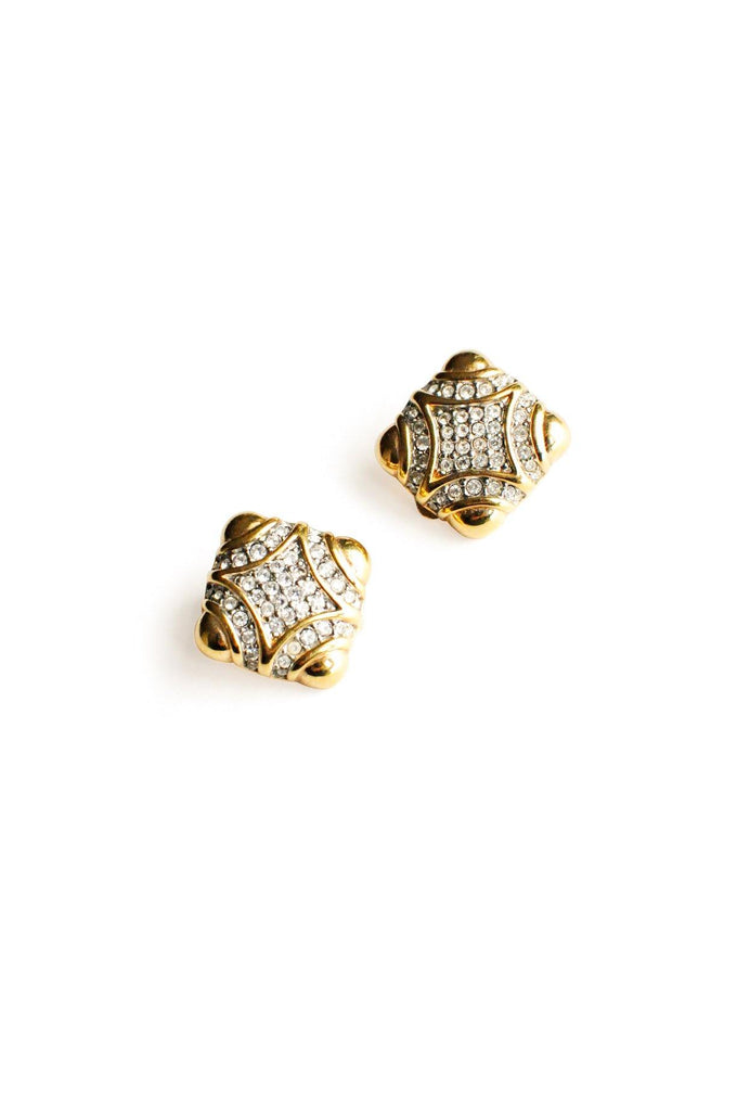 Square Rhinestone Clip-on Earrings