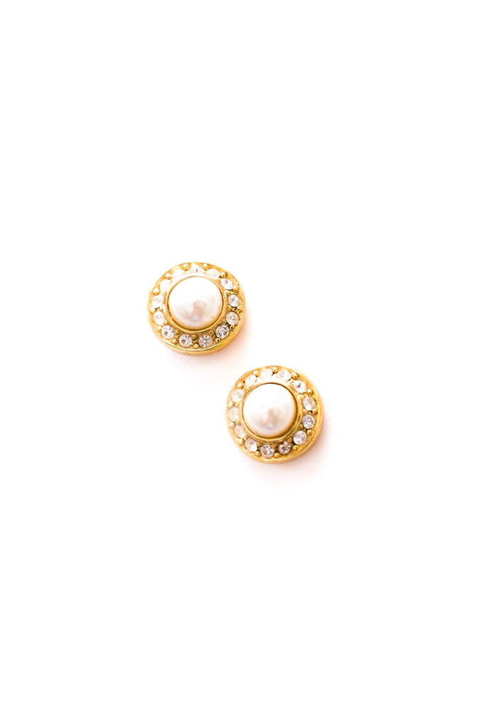 Christian Dior Rhinestone Pierced Earrings
