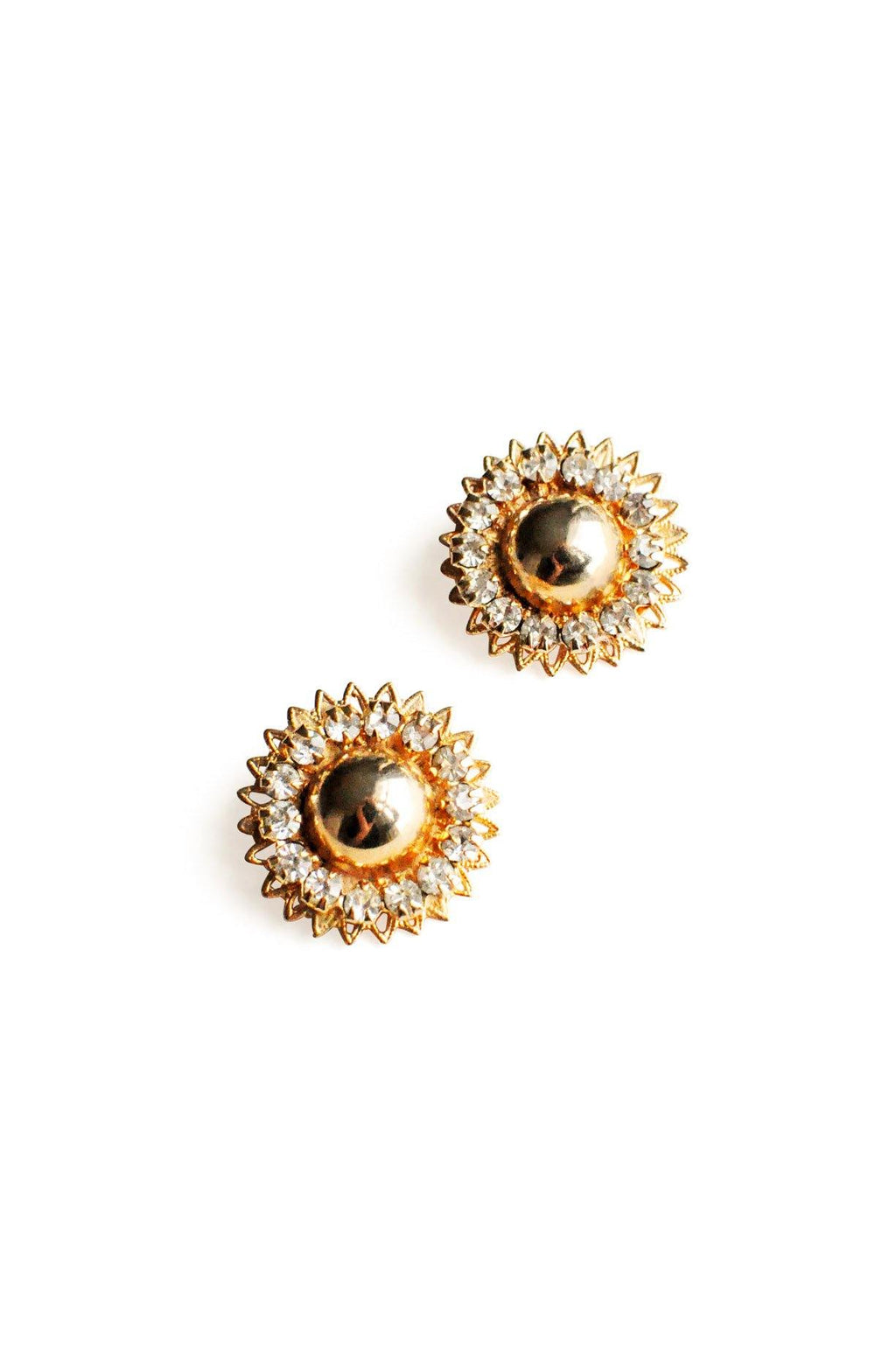 Gold and Rhinestone Clip-on Earrings