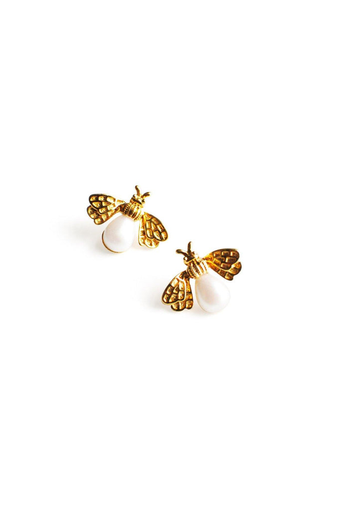 Gold and Pearl Bee Pierced Earrings