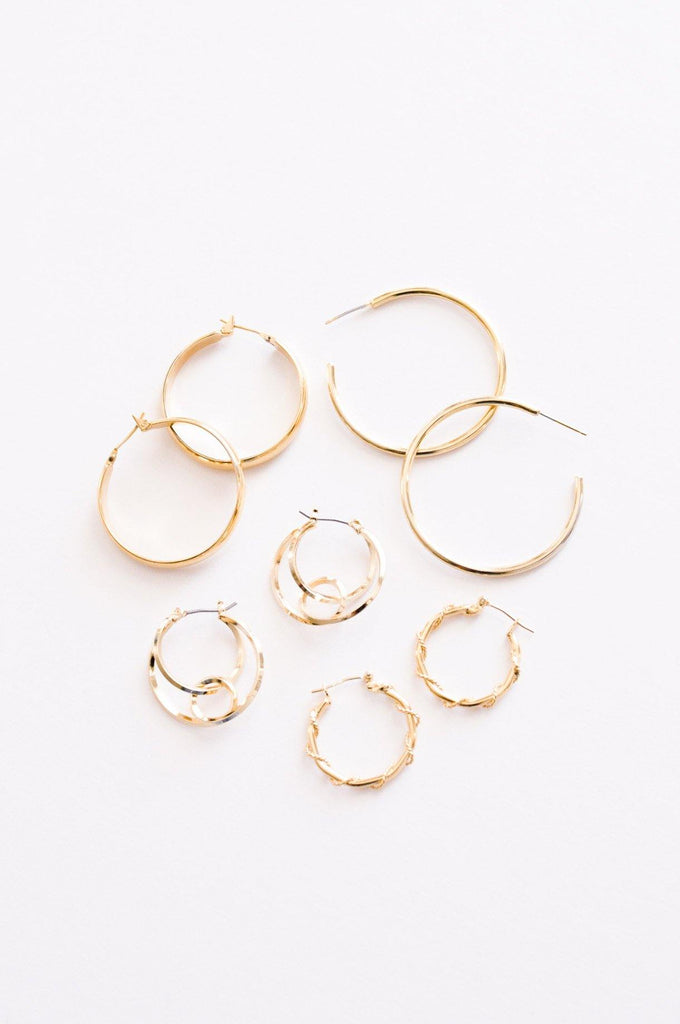 Linked Circle Hoop Pierced Earrings