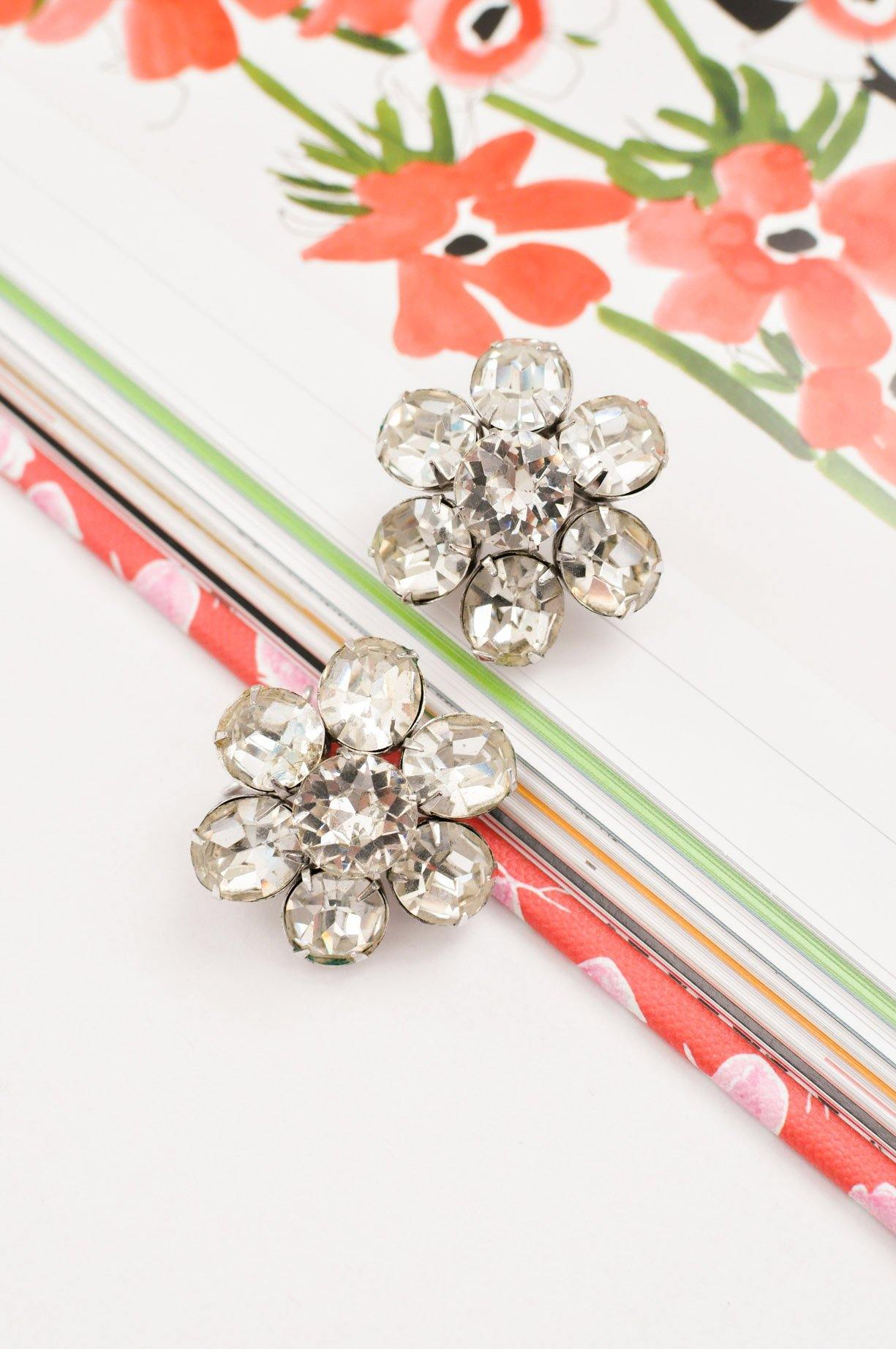 Rhinestone Flower Clip-on Earrings
