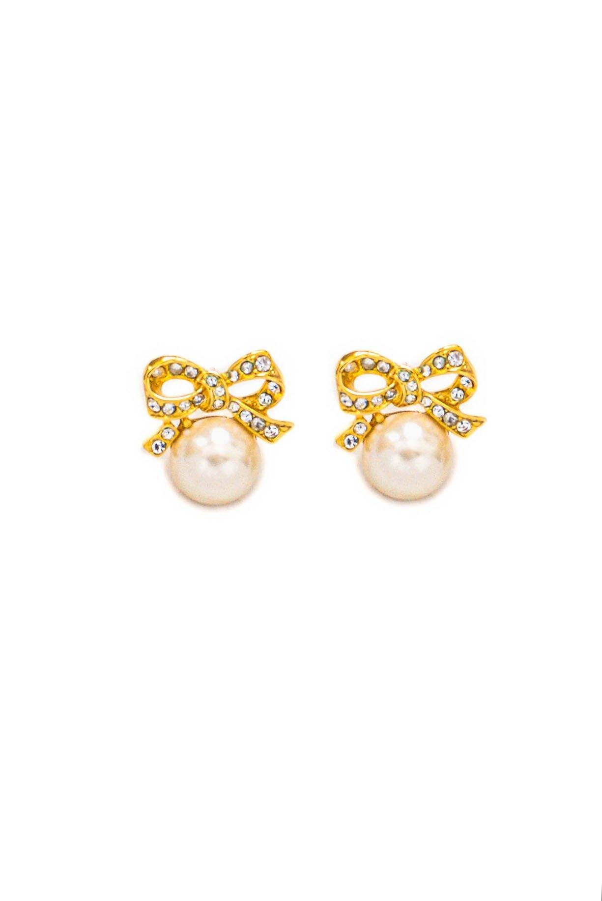 Vintage Rhinestone Bow Pearl Pierced Earrings from Sweet and Spark