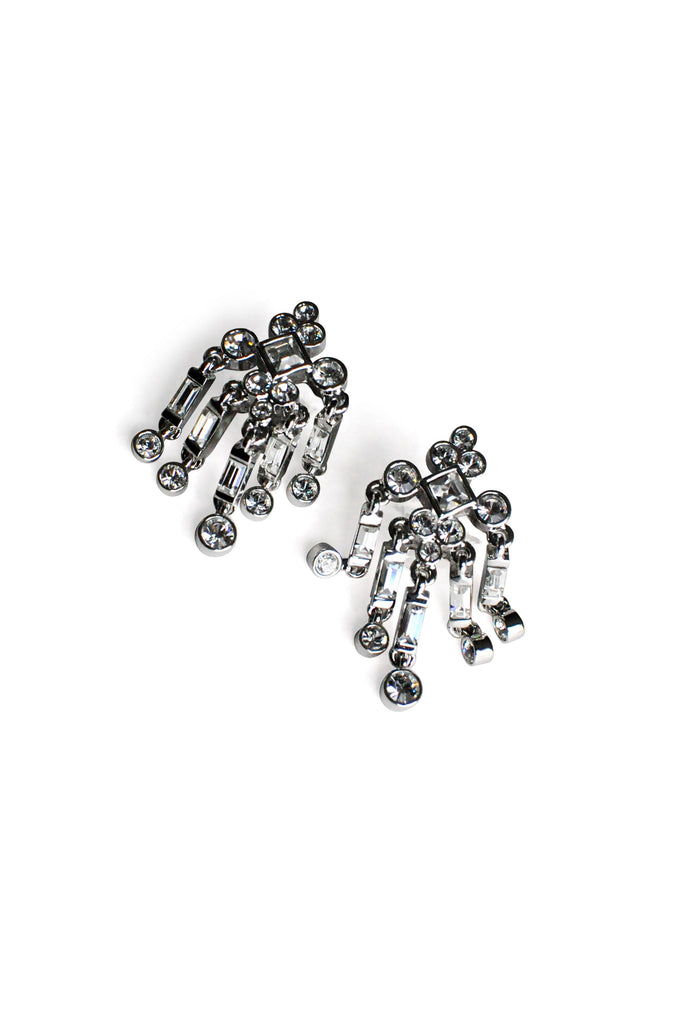 Rhinestone Fringe Clip-on Earrings
