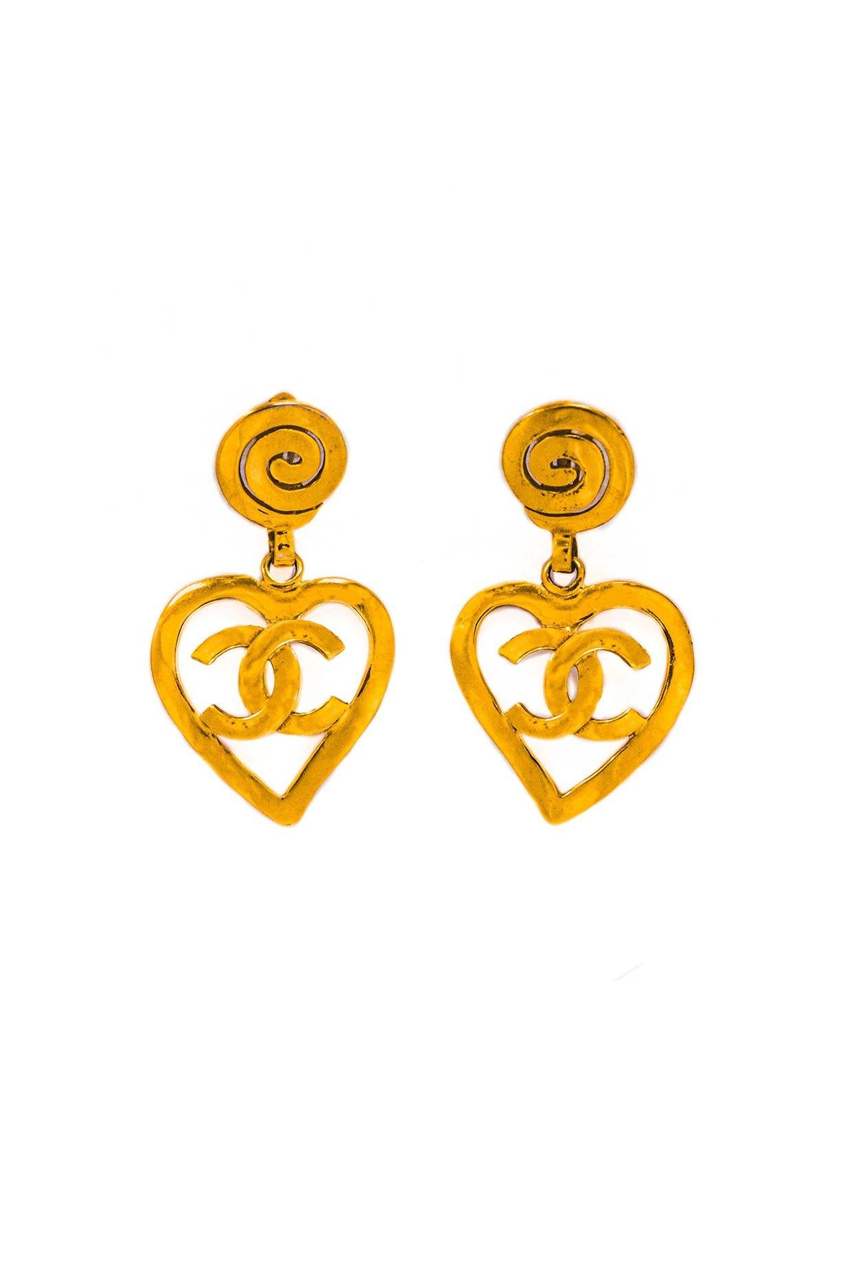 Vintage Chanel CC Heart Clip-on Drop Earrings from Sweet and Spark