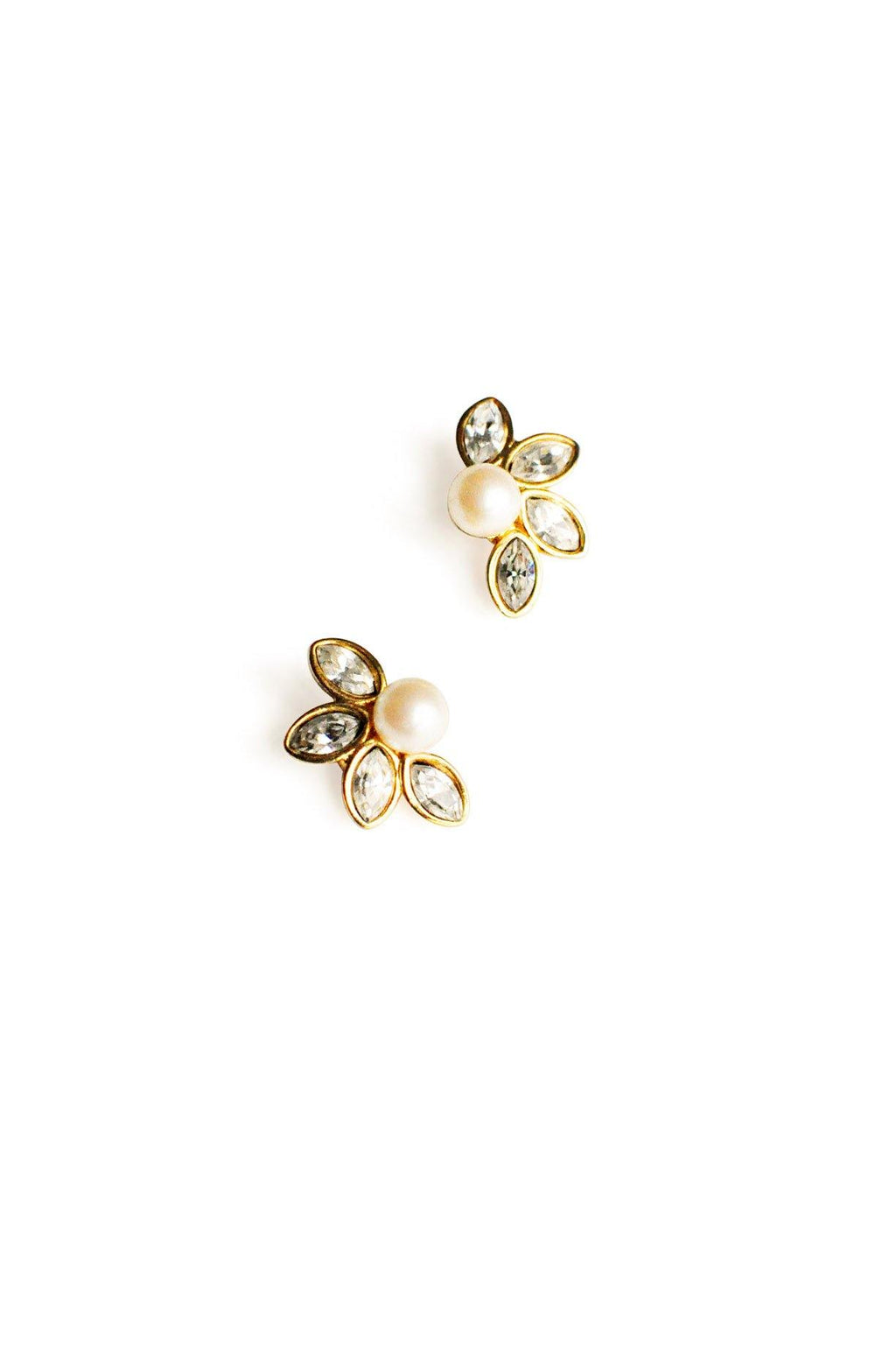 Pearl Rhinestone Pierced Earrings