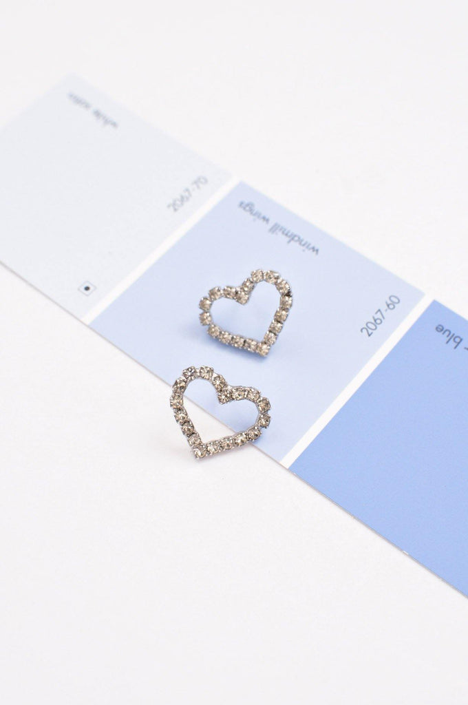 Rhinestone Heart Pierced Earrings
