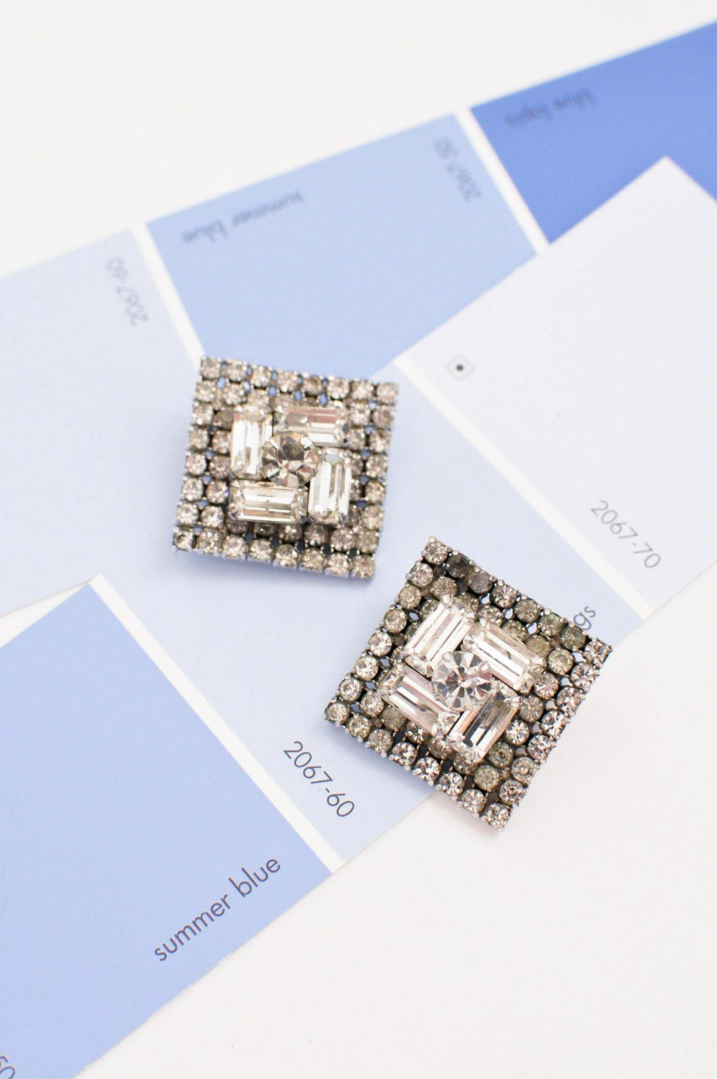 Diamond Rhinestone Clip-on Earrings