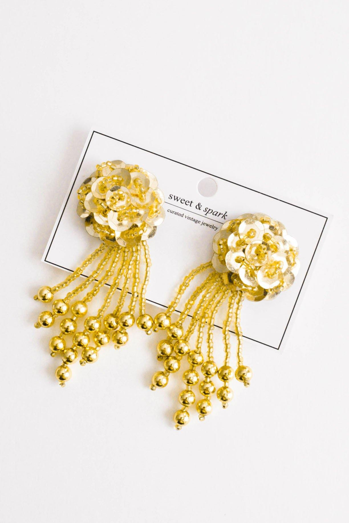 Gold Sequin Fringe Clip-on Earrings