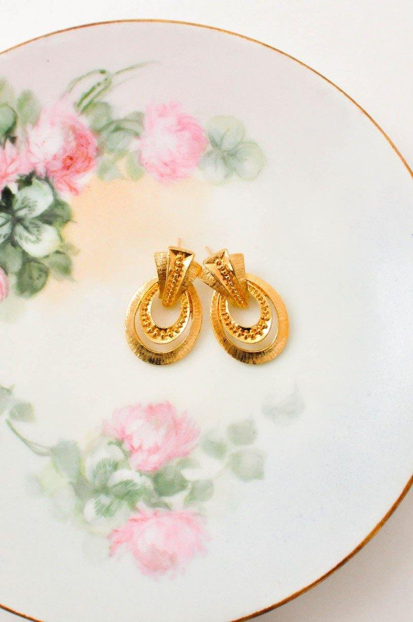Textured Drop Hoop Pierced Earrings