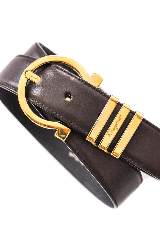 Salvatore Ferragamo Brown Leather Belt