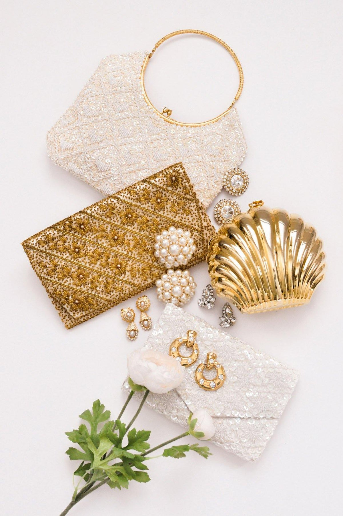 Gold Beaded Floral Clutch - Sweet & Spark