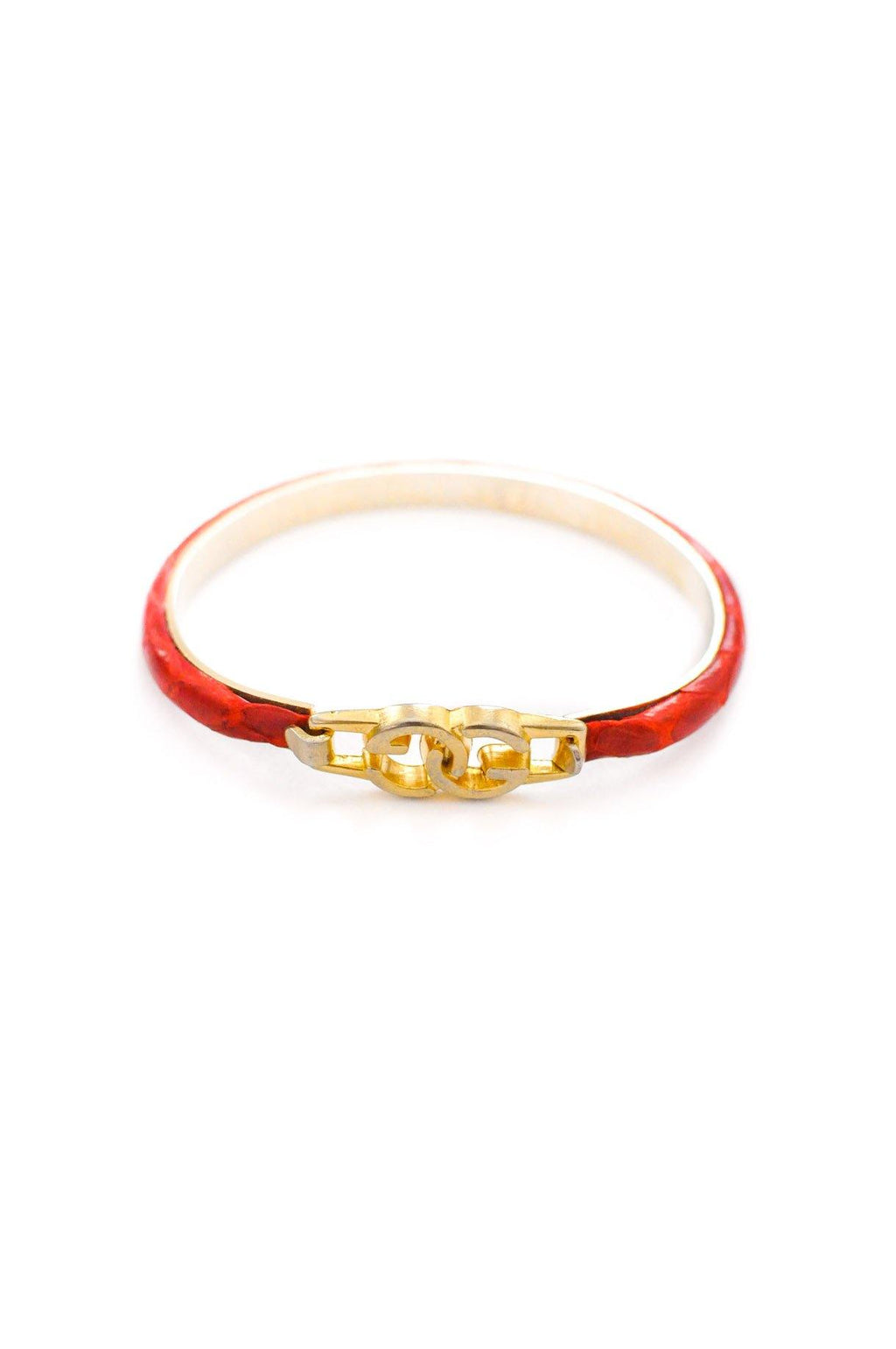 Gucci Red Leather Bracelet