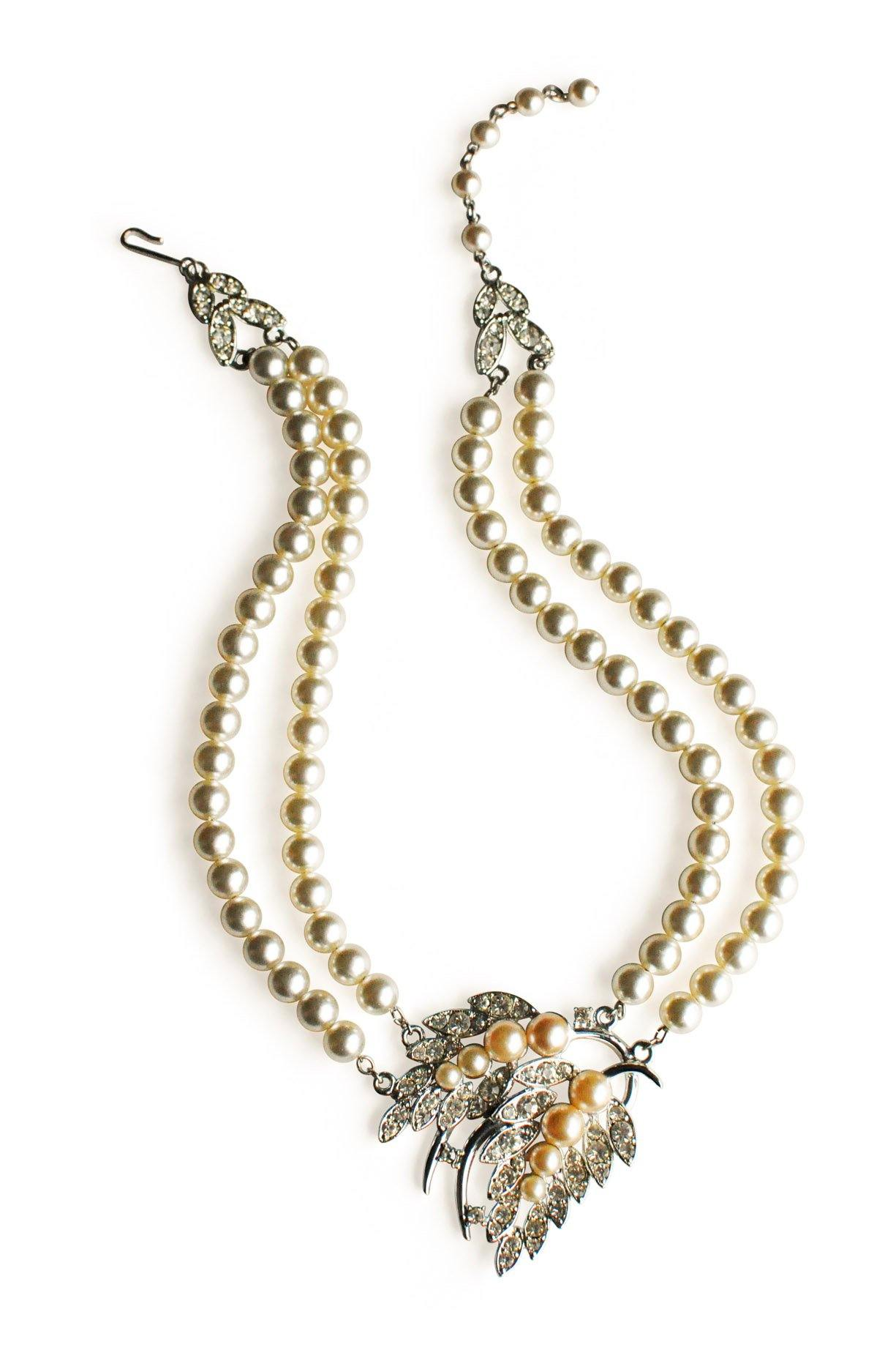Emmons Silver Rhinestone Pearl Necklace from Sweet & Spark