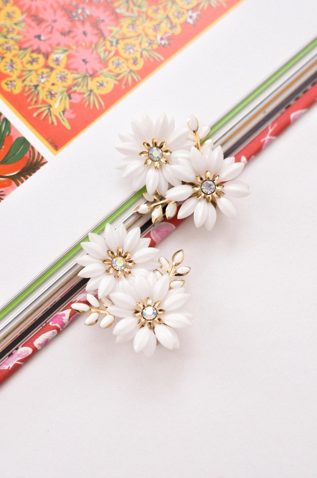 Floral White Clip-On Earrings