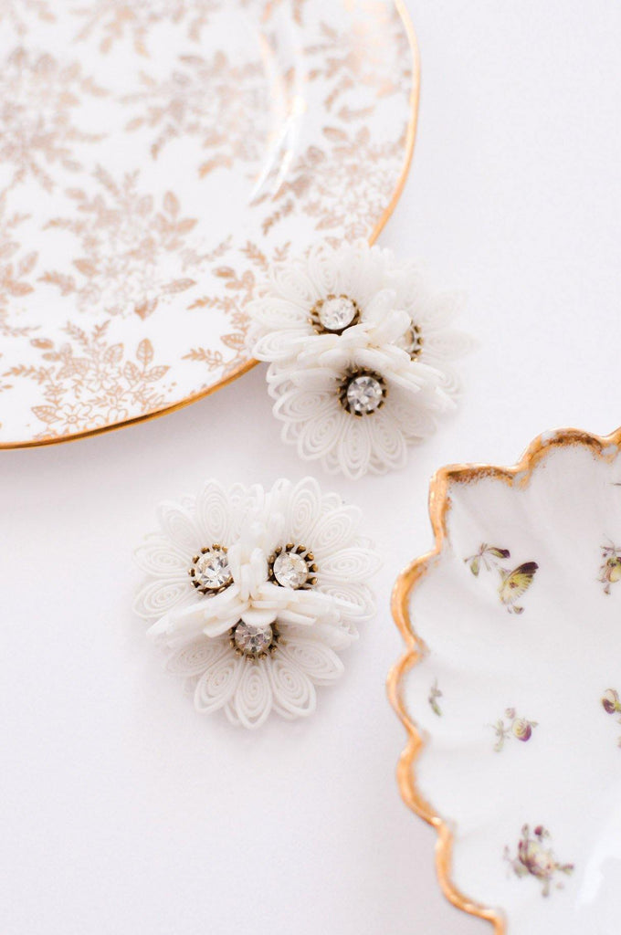 3D Floral Clip-on Earrings