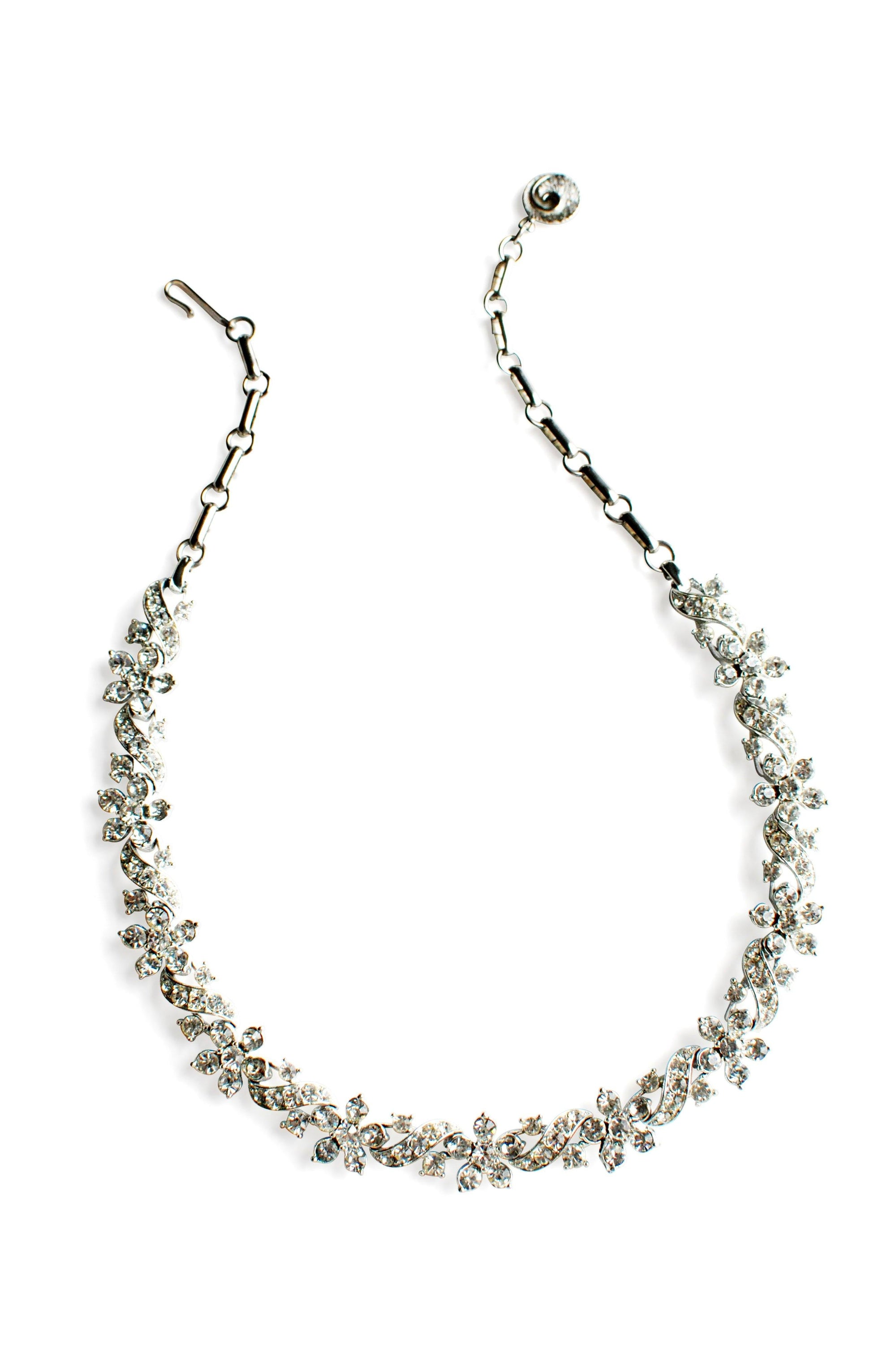 Lisner Silver Rhinestone Floral Link Necklace from Sweet & Spark