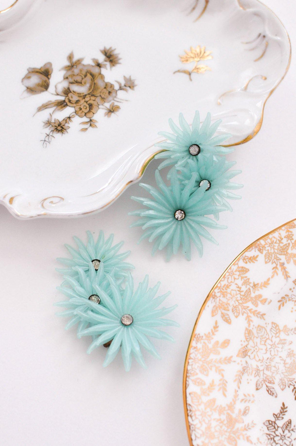 Teal Floral Crawler Clip-on Earrings