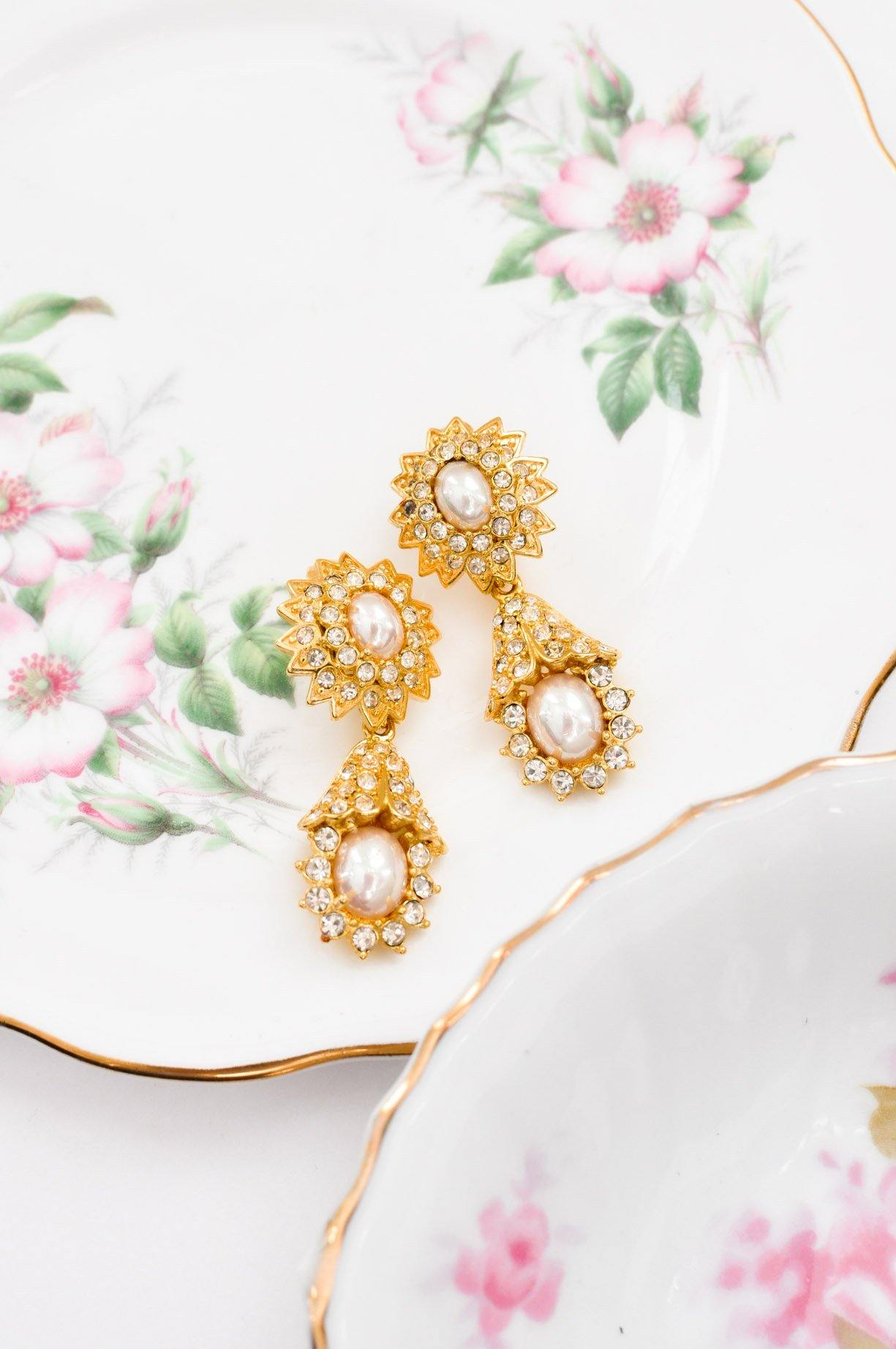 Rhinestone Pearl Clip-on Earrings