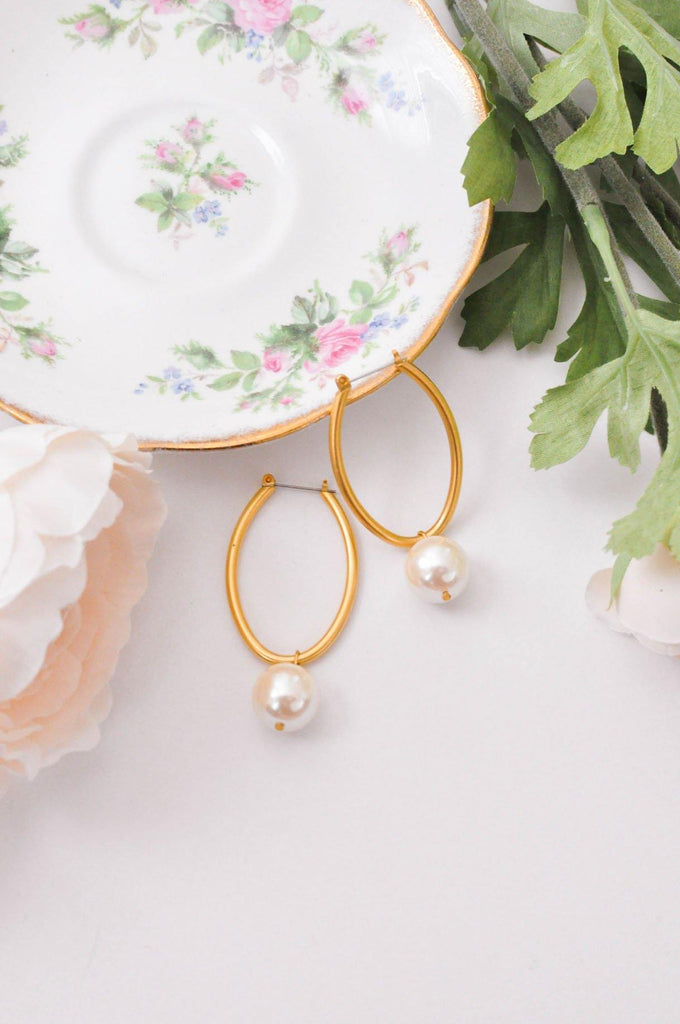 Pearl Drop Hoop Pierced Earrings