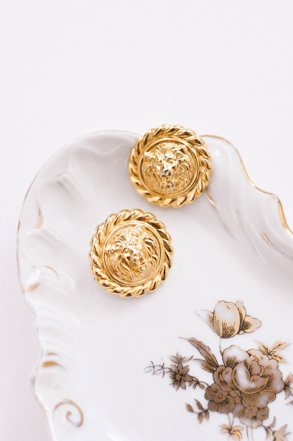 Coin Lion Head Earrings