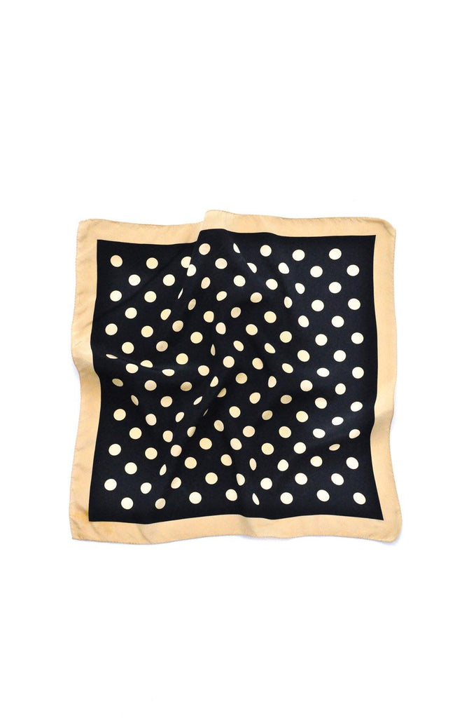 Black & Tan Polka Dot Square Scarf