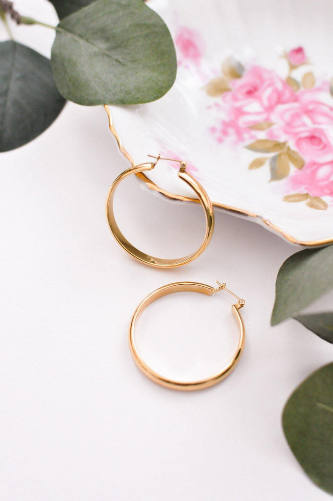 Bright Gold Pierced Hoop Earrings