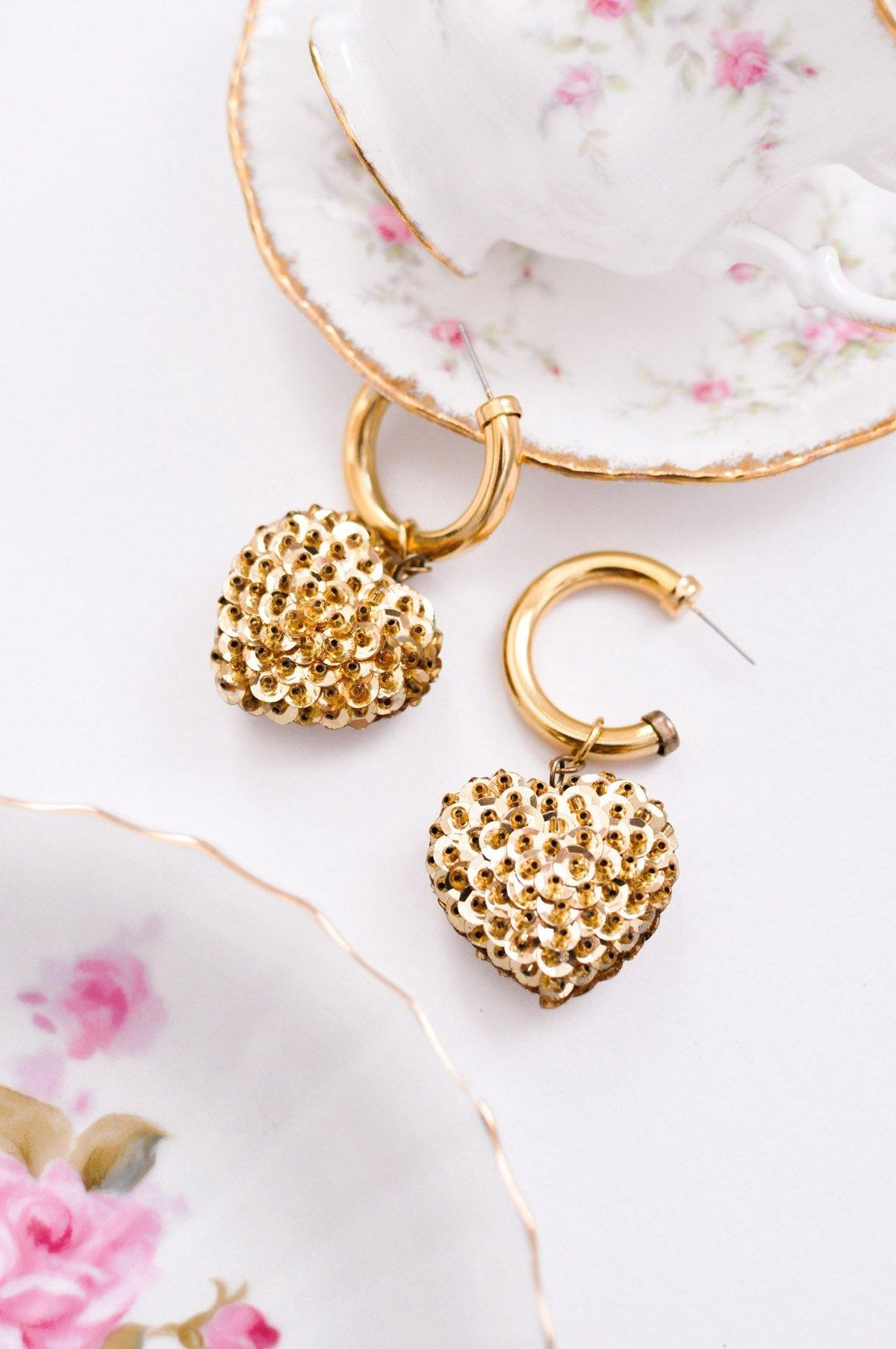 Vintage Gold Sequin Heart Earrings from Sweet and Spark.