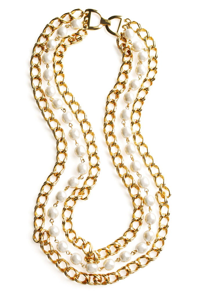 Pearl Gold Multi-Strand Necklace