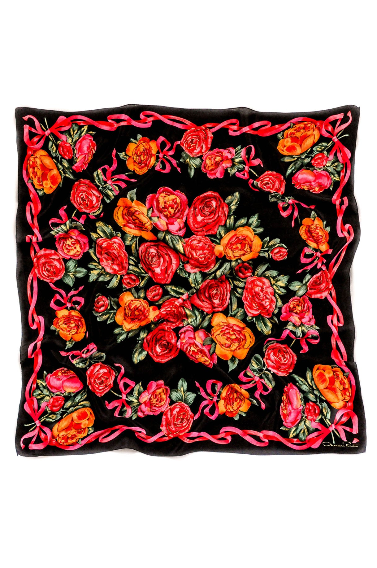 Vintage Oscar de la Renta Bold Bow Roses Scarf from Sweet and Spark