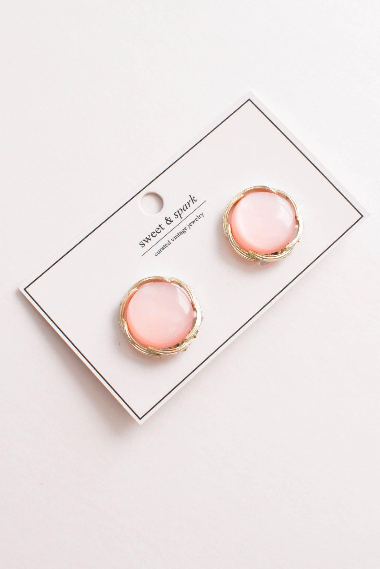 Pink Coin Clip-on Earrings