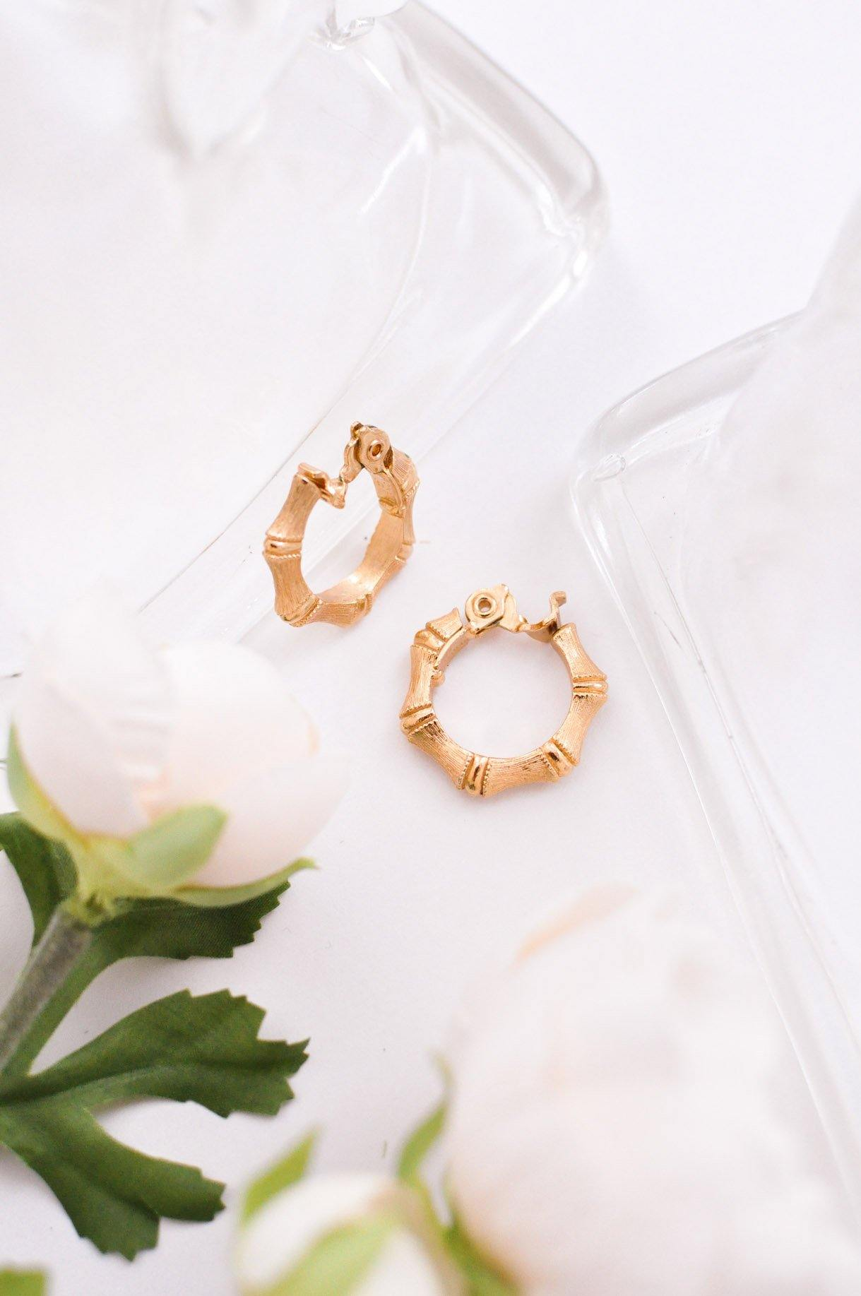 Bamboo Gold Clip-On Earrings