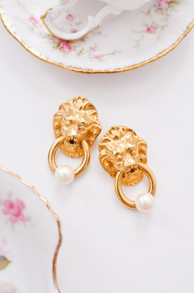 Lion Pearl Door Knocker Clip on Earrings