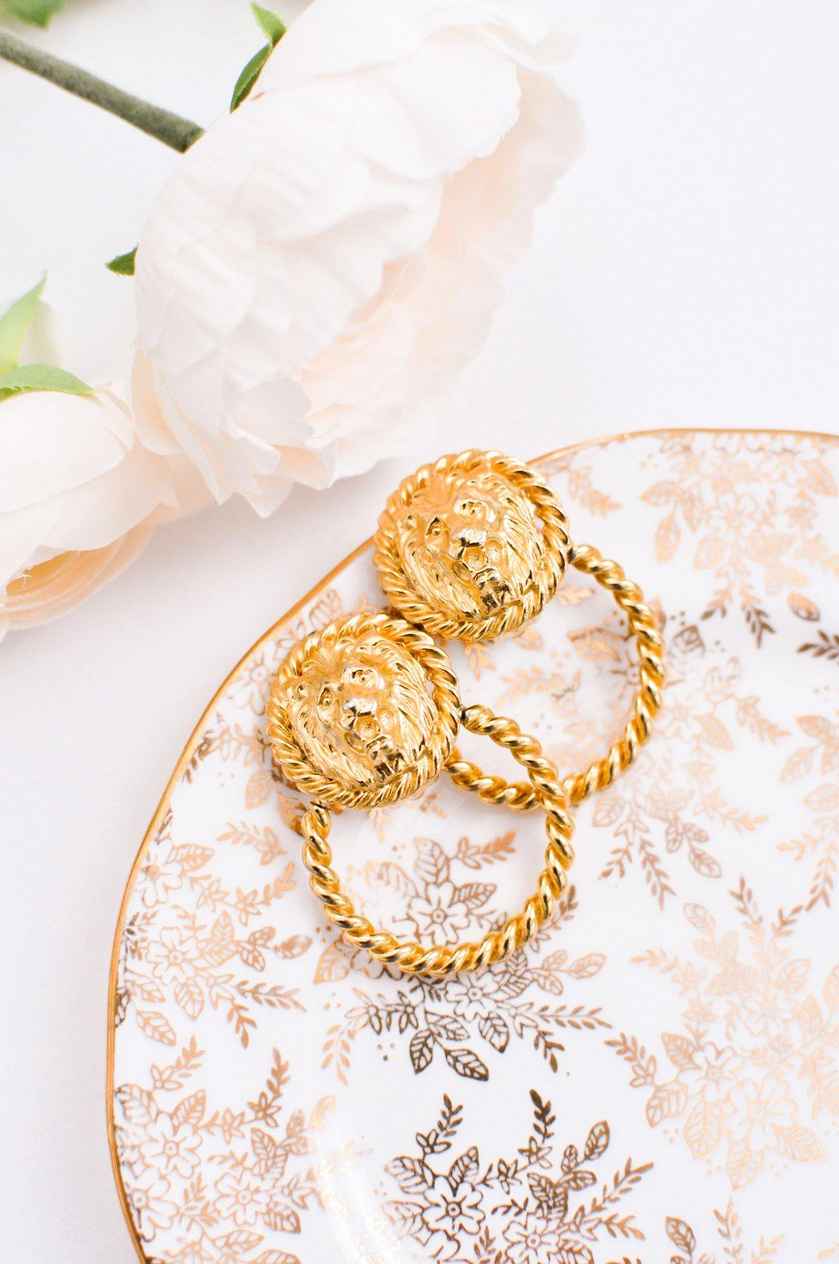 Vintage Gold Lion Rope Door Knocker Earrings from Sweet and Spark.