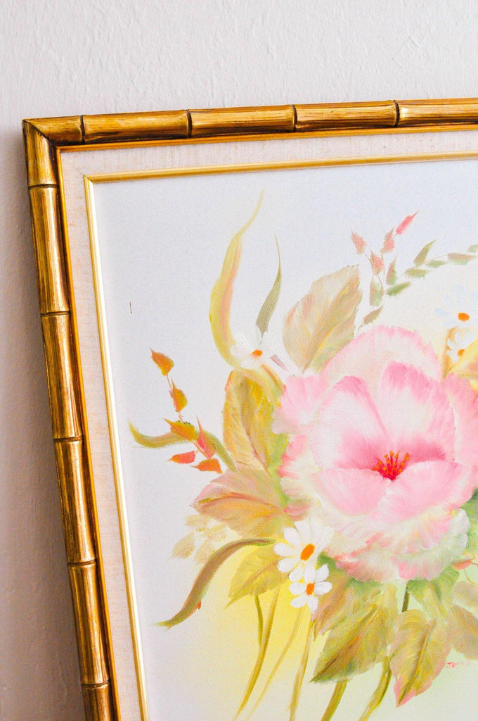 Bamboo Framed Watercolor Painting