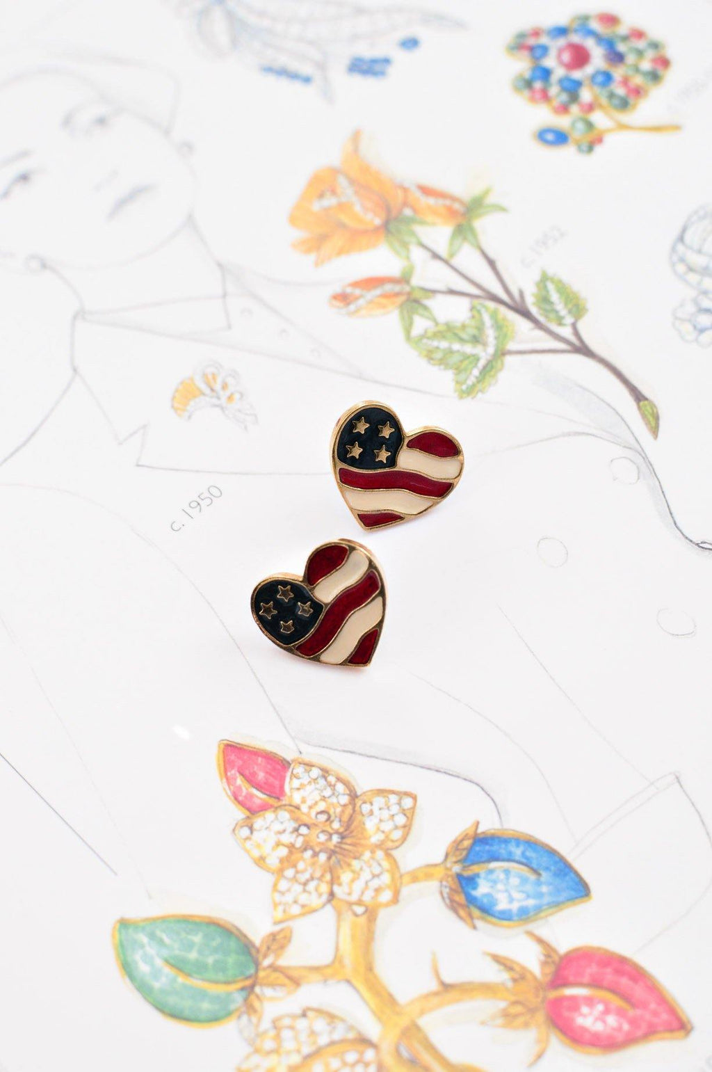 USA Heart Pierced Earrings