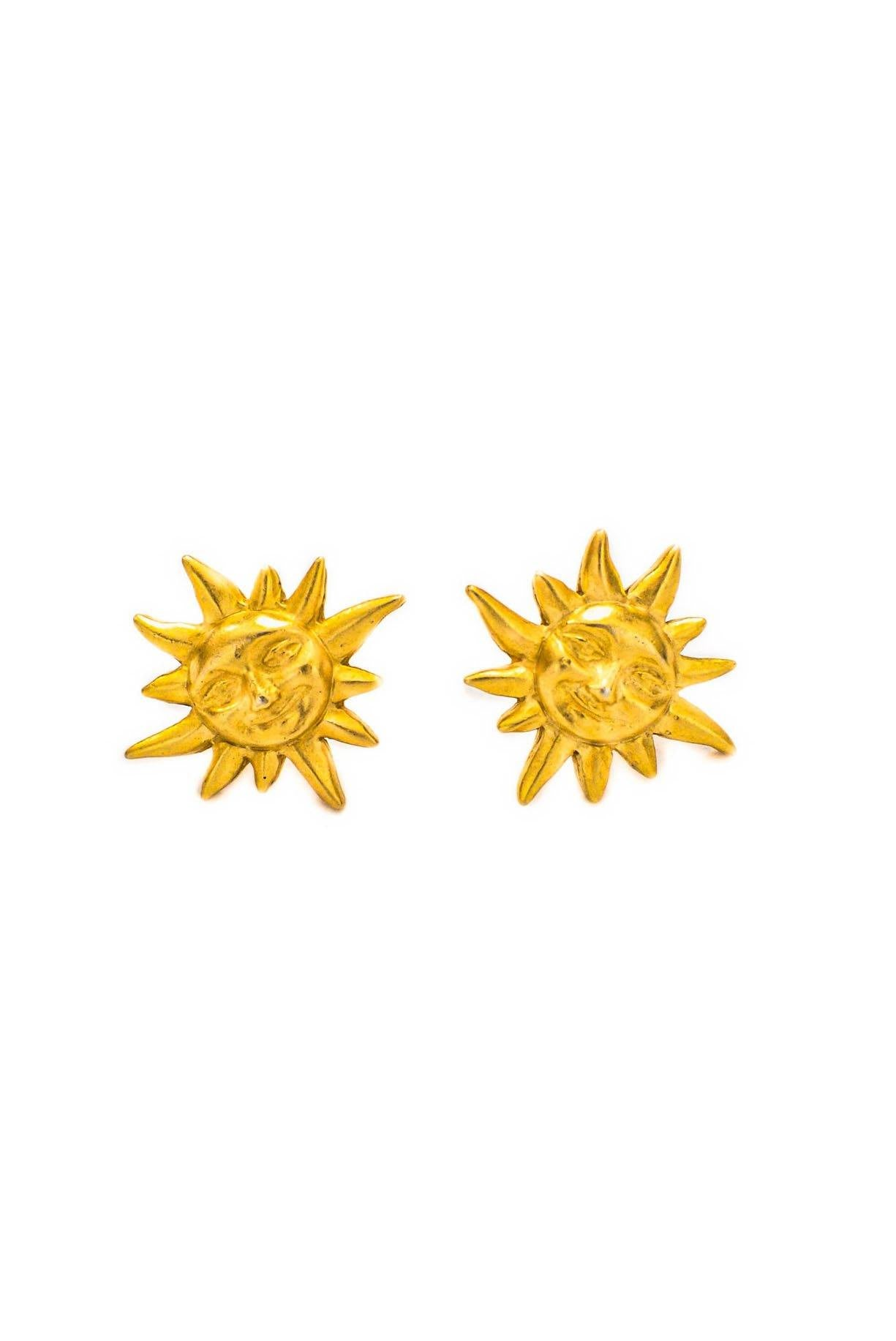Vintage Smiling Sun Matte Pierced Studs from Sweet and Spark