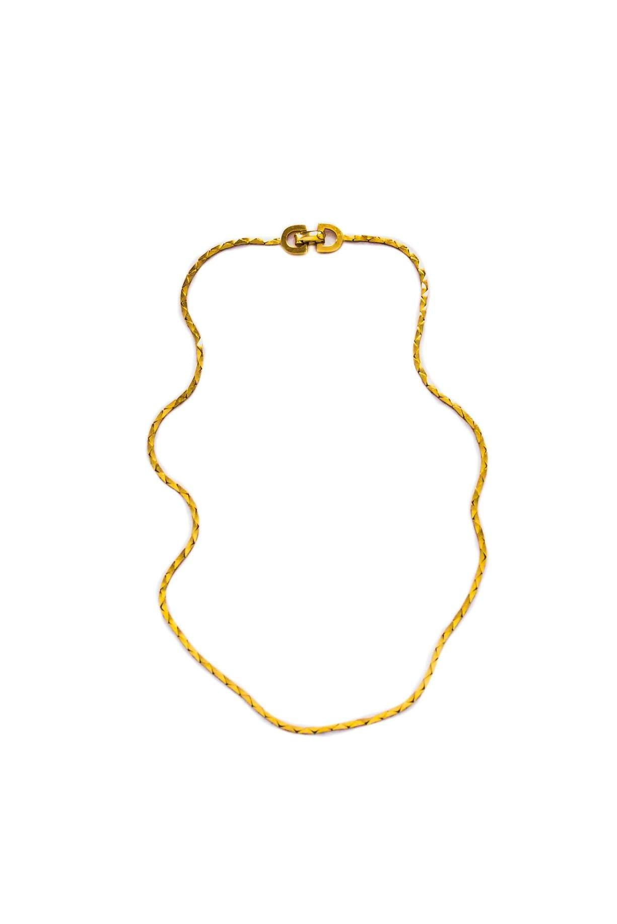 Vintage Christian Dior Dainty Box Chain Necklace from Sweet & Spark.