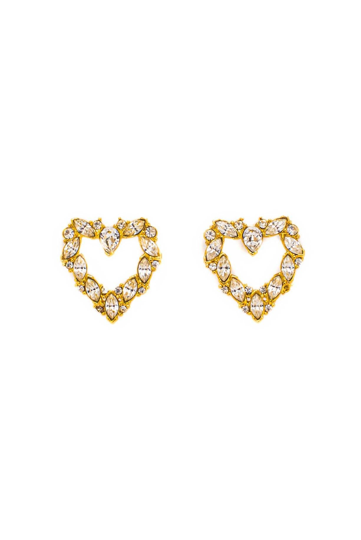 Vintage Rhinestone Heart Pierced Earrings from Sweet and Spark