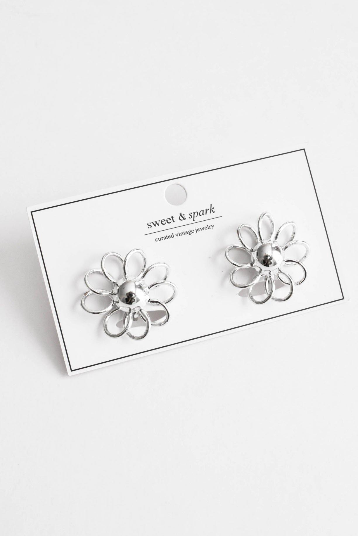 Silver Floral Clip-on Earrings