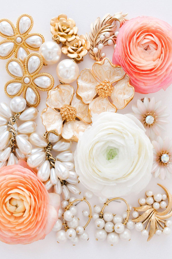 Floral Pearl Statement Clip-on Earrings